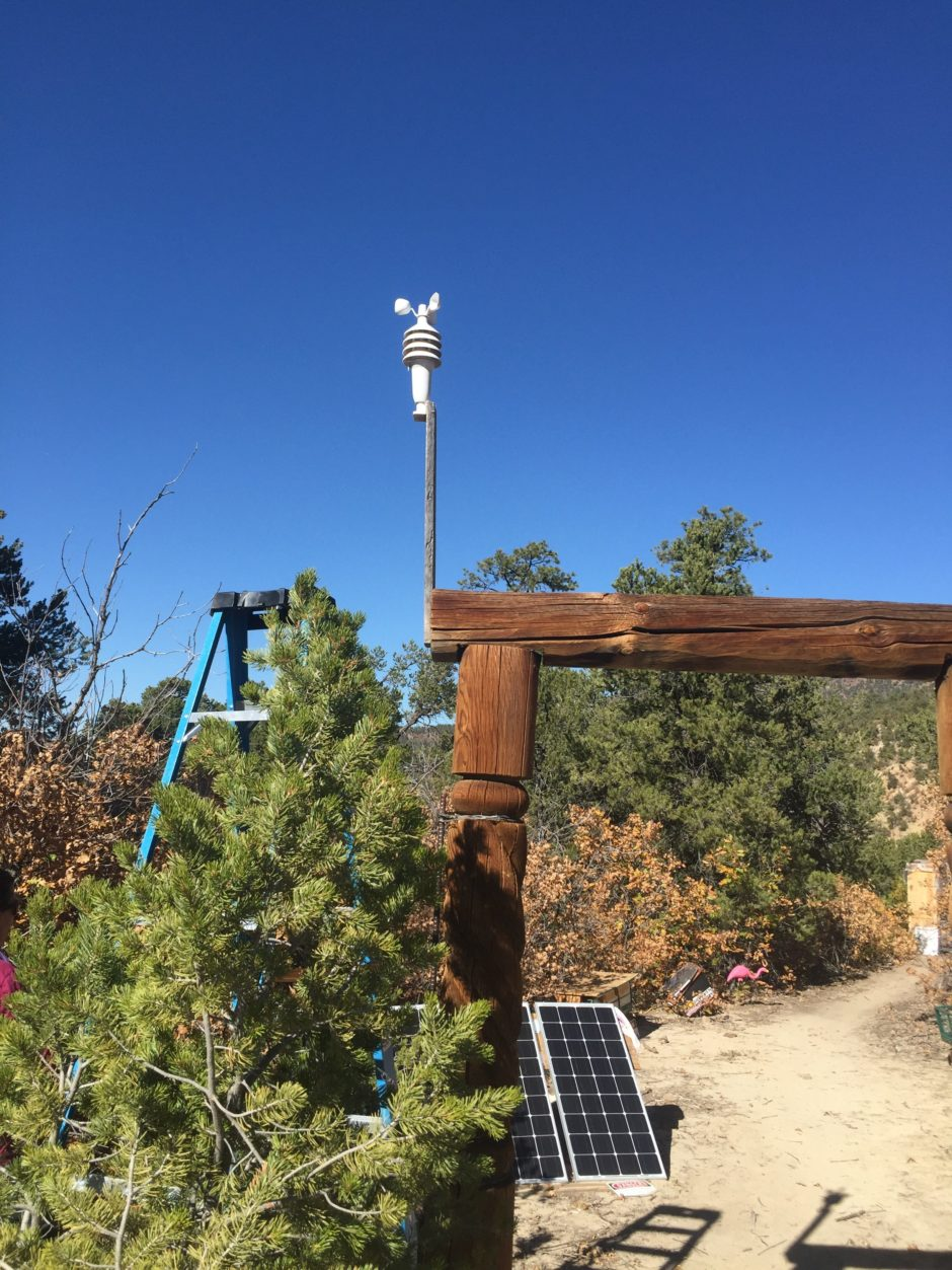 3 in 1 Sensor for the AcuRite Weather Center mounted about 12 feet high on a fence post